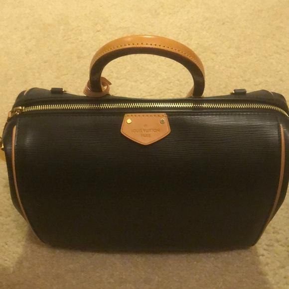 """Louis Vuitton Handbags - LOUIS VUITTON AUTHENTIC EPI BLACK """"DOC"""" SATCHEL"""